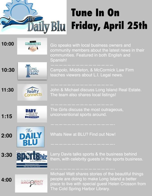 Tune in tomorrow, Friday April 25th for a great line up of shows!